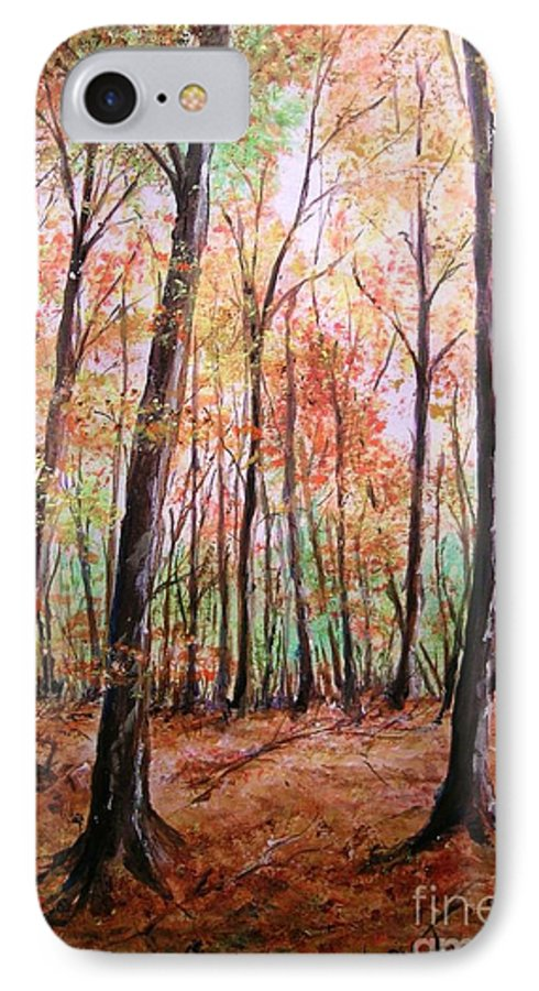Landscape IPhone 7 Case featuring the painting Autumn Forrest by Lizzy Forrester