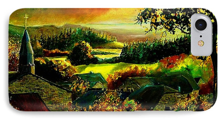 Landscape IPhone 7 Case featuring the painting Autumn In Our Village Ardennes by Pol Ledent