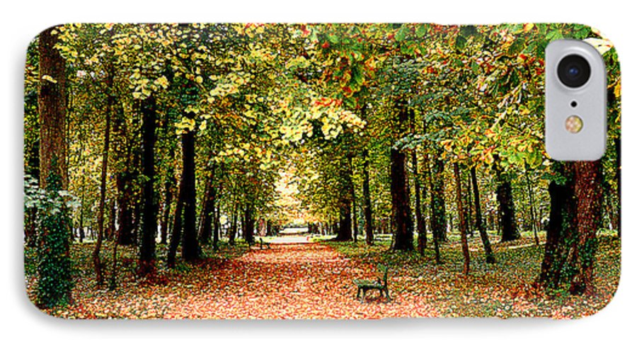 Autumn IPhone 7 Case featuring the photograph Autumn In The Park by Nancy Mueller