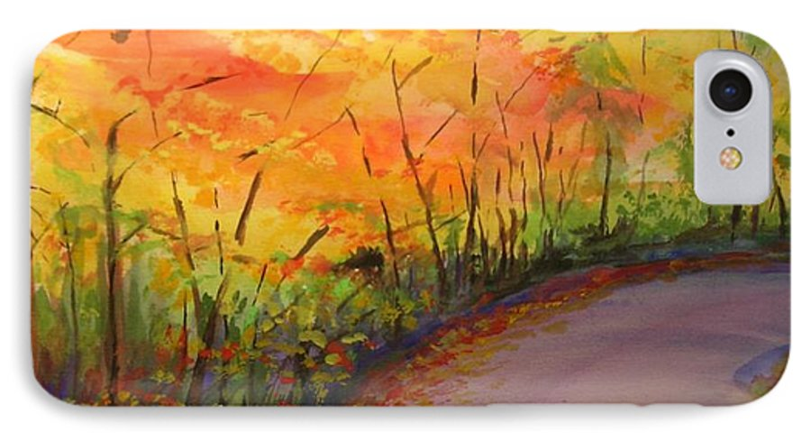 Original Landscape Impressionist Painting IPhone 7 Case featuring the painting Autumn Lane IIi by Lizzy Forrester