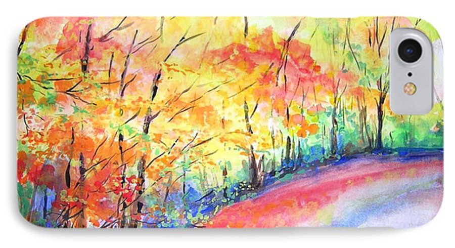 Autumn IPhone 7 Case featuring the painting Autumn Lane Iv by Lizzy Forrester