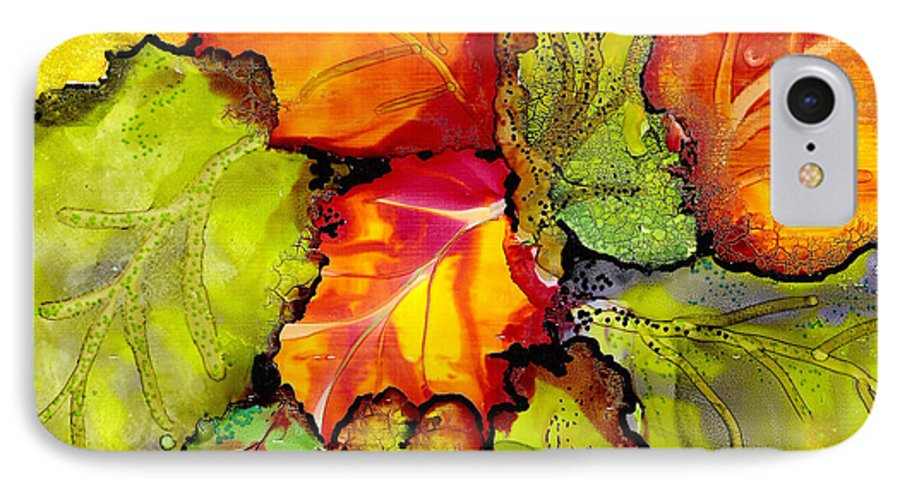 Leaves IPhone 7 Case featuring the painting Autumn Leaves by Susan Kubes