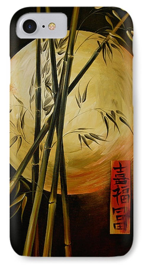 Asian Moon Bamboo IPhone 7 Case featuring the painting Autumn Moon by Dina Dargo
