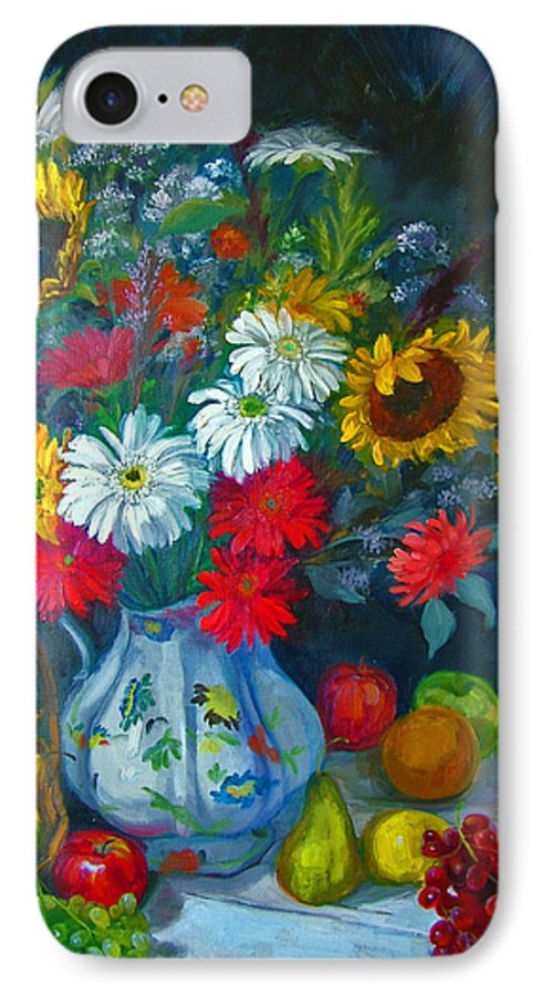 Fruit And Many Colored Flowers In Masson Ironstone Pitcher. A Large Still Life. IPhone 7 Case featuring the painting Autumn Picnic by Nancy Paris Pruden