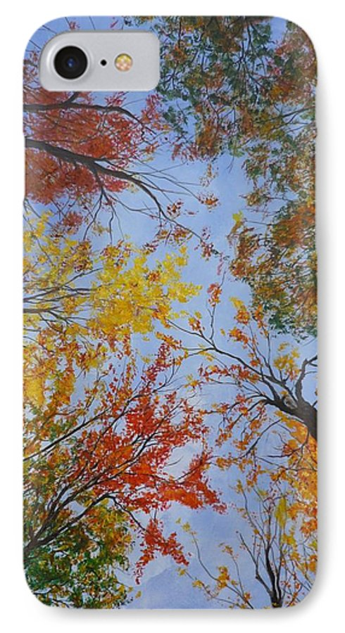 Tree IPhone 7 Case featuring the painting Autumn Sky by Lizzy Forrester