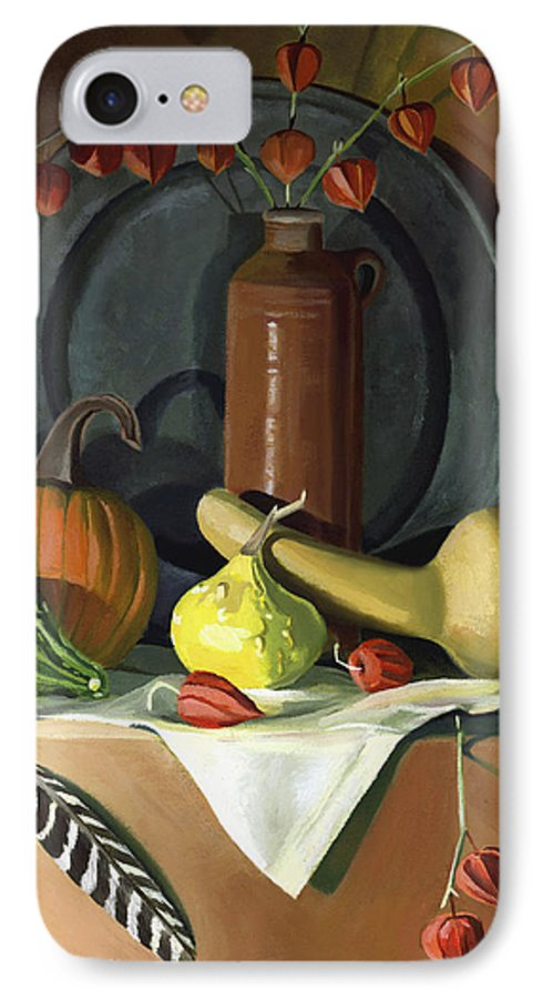 Still Life IPhone 7 Case featuring the painting Autumn Still Life by Nancy Griswold