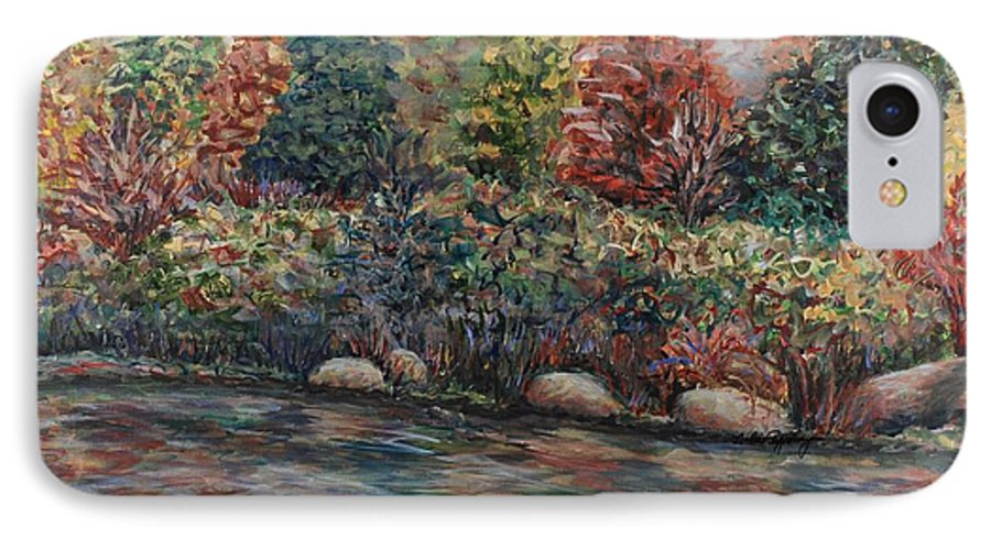 Autumn IPhone 7 Case featuring the painting Autumn Stream by Nadine Rippelmeyer