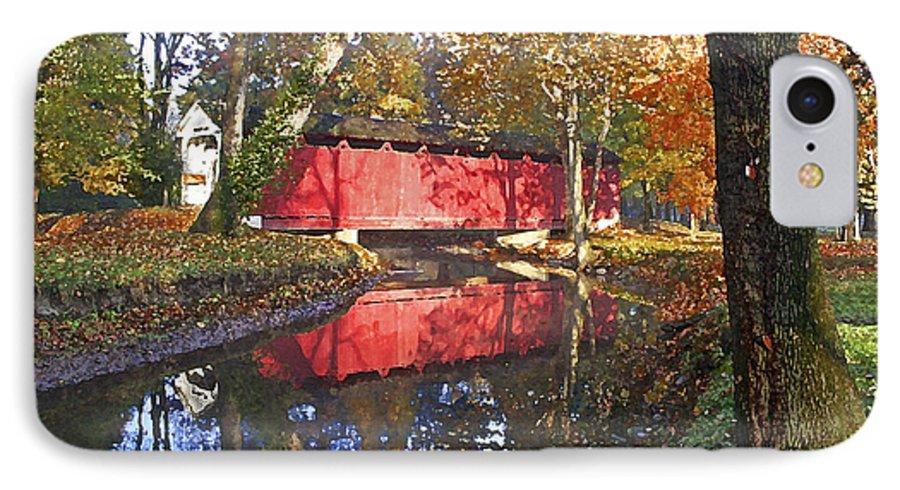 Covered Bridge IPhone 7 Case featuring the photograph Autumn Sunrise Bridge by Margie Wildblood