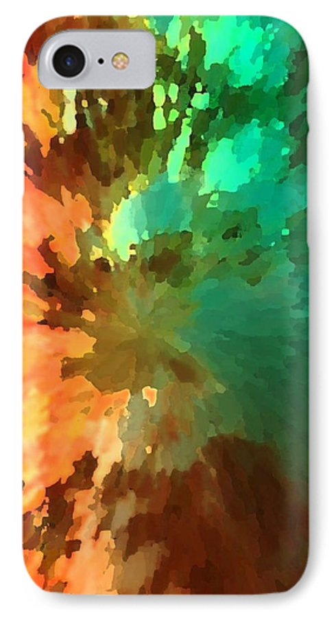Abstract IPhone 7 Case featuring the painting Autumn Surprise by Florene Welebny