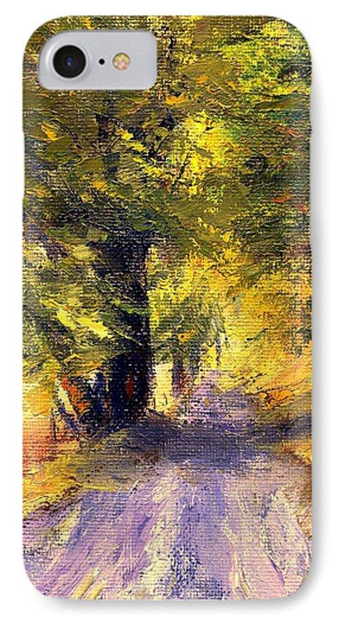 Autumn IPhone 7 Case featuring the painting Autumn Walk by Gail Kirtz