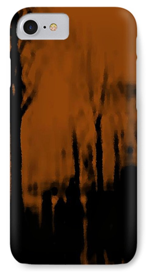 Trees.street.rain.clouds.wet People.the Naked Branches Of The Trees.the Gloomy Light. IPhone 7 Case featuring the digital art Autumn Wet Day by Dr Loifer Vladimir