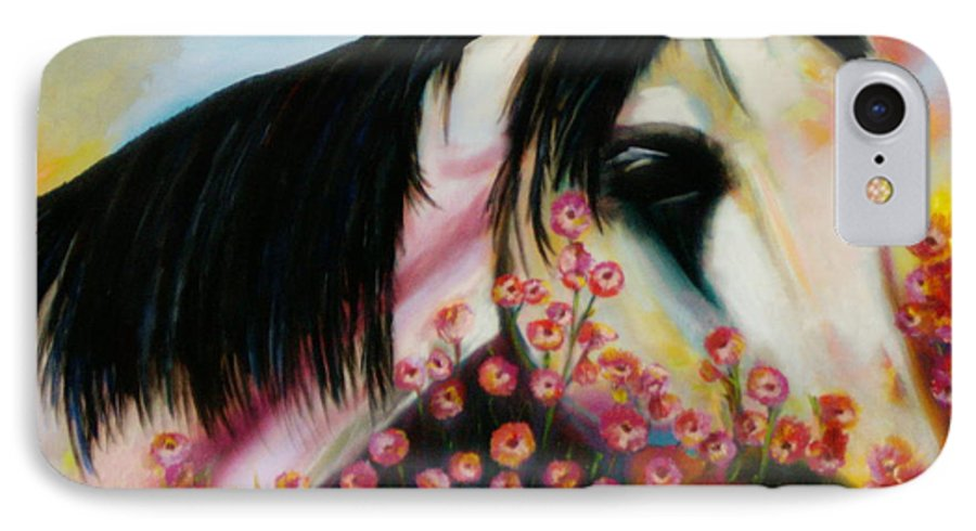 Horse IPhone 7 Case featuring the painting Avalon's Rose by Sidra Myers