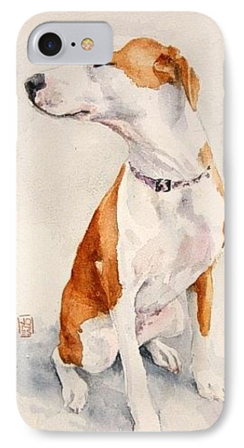 Dog IPhone 7 Case featuring the painting Aviator by Debra Jones