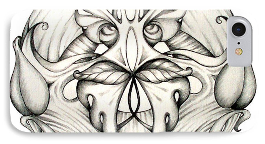 Mandala IPhone 7 Case featuring the drawing Awakening by Shadia Derbyshire