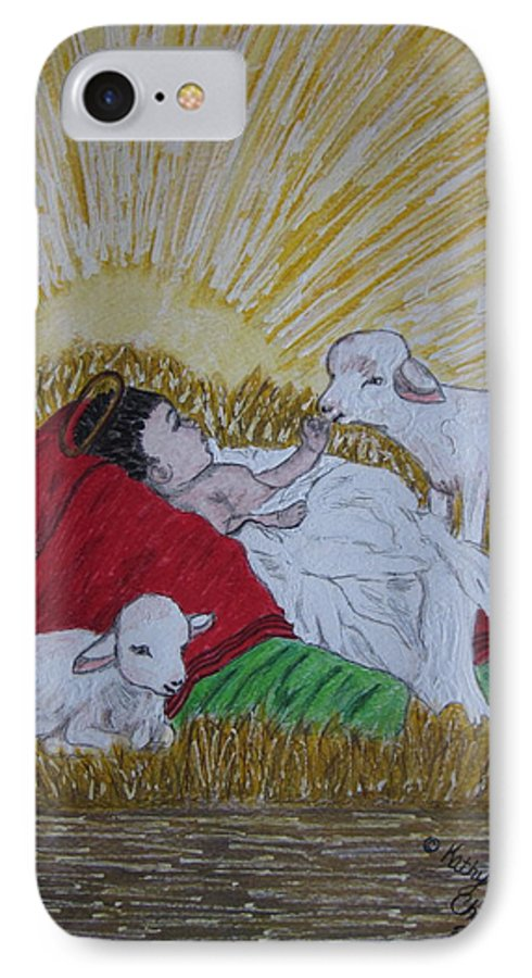 Saviour IPhone 7 Case featuring the painting Baby Jesus At Birth by Kathy Marrs Chandler