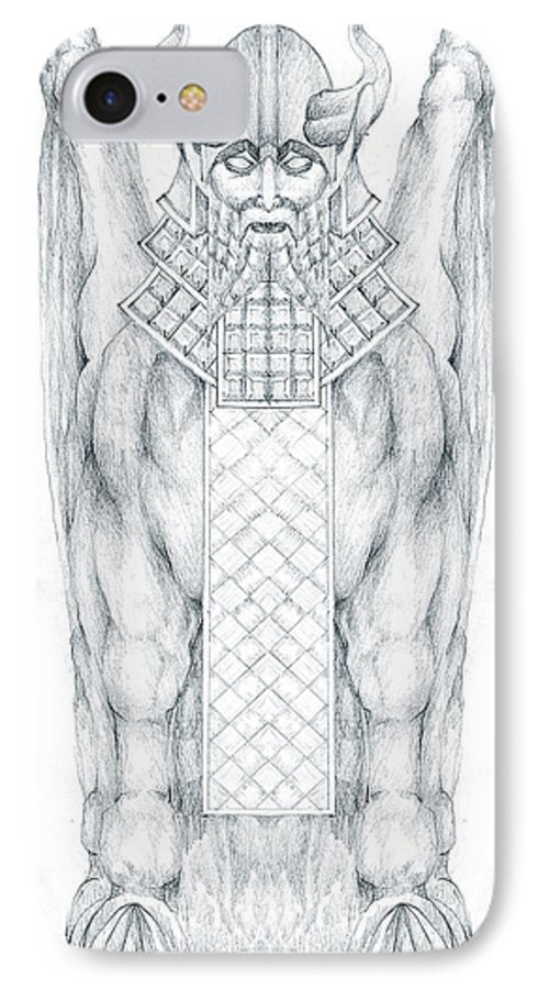 Babylonian IPhone 7 Case featuring the drawing Babylonian Sphinx Lamassu by Curtiss Shaffer