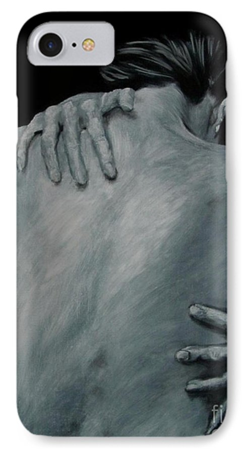 Nude IPhone 7 Case featuring the painting Back Of Naked Woman by Jindra Noewi