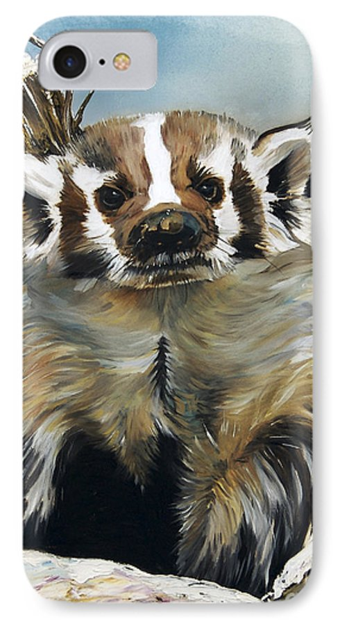 Southwest Art IPhone 7 Case featuring the painting Badger - Guardian Of The South by J W Baker