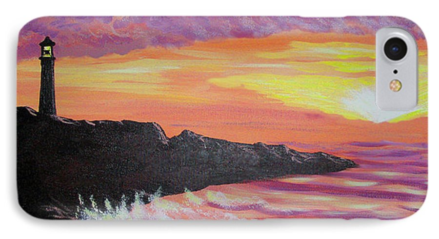 Seascape IPhone 7 Case featuring the painting Bahia At Sunset by Marco Morales
