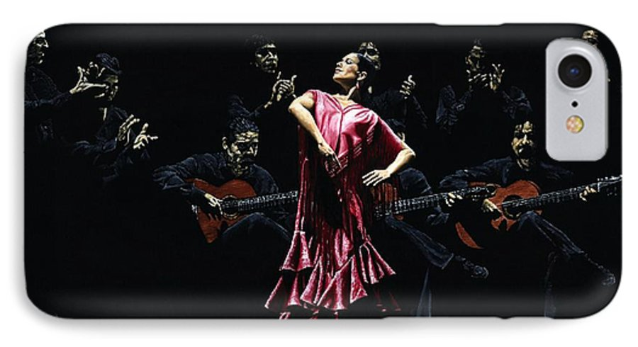 Flamenco IPhone 7 Case featuring the painting Bailarina Orgullosa Del Flamenco by Richard Young