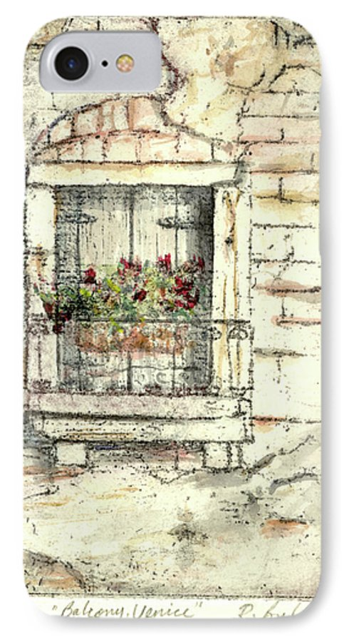 Venice IPhone 7 Case featuring the painting Balcony Venice by Richard Bulman