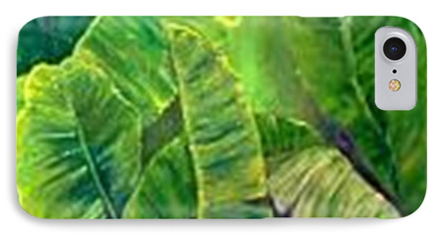 IPhone 7 Case featuring the painting Banana Leaves by Carol P Kingsley