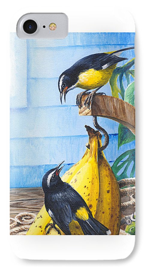 Chris Cox IPhone 7 Case featuring the painting Bananaquits And Bananas by Christopher Cox