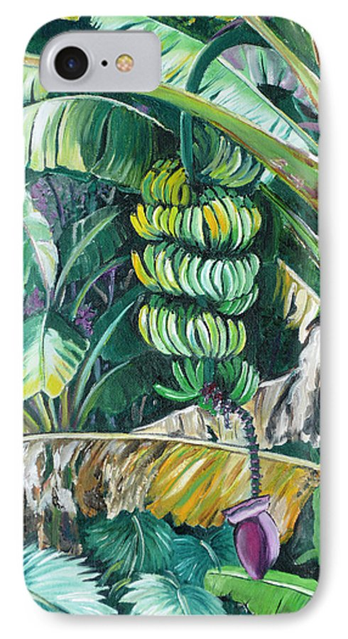 Caribbean Painting Bananas Trees P Painting Fruit Painting Tropical Painting IPhone 7 Case featuring the painting Bananas by Karin Dawn Kelshall- Best
