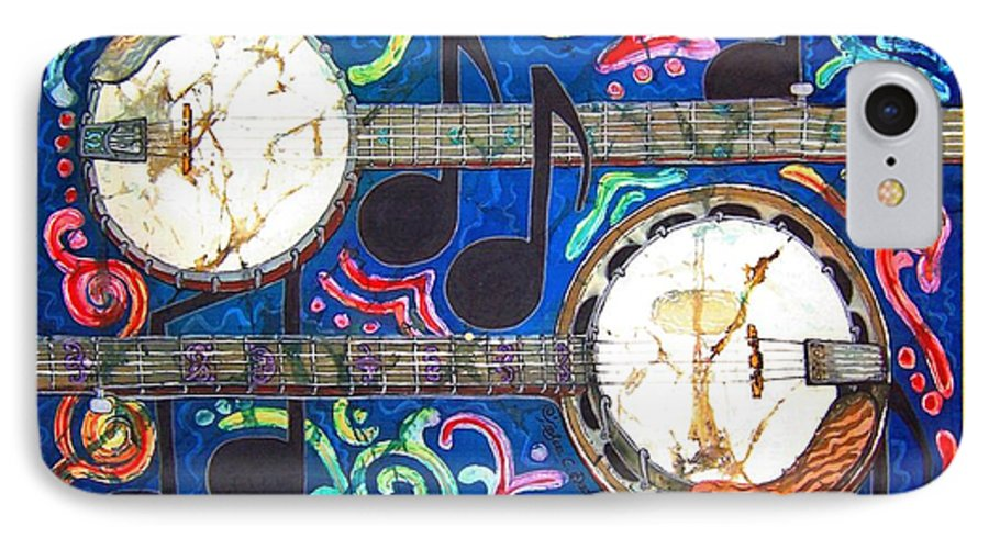 Banjo IPhone 7 Case featuring the painting Banjos - Bordered by Sue Duda