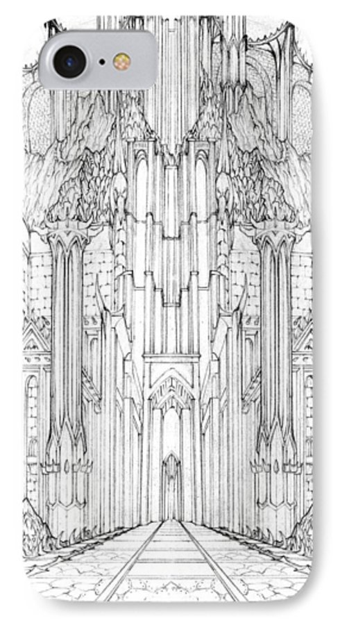Barad-dur IPhone 7 Case featuring the drawing Barad-dur Gate Study by Curtiss Shaffer