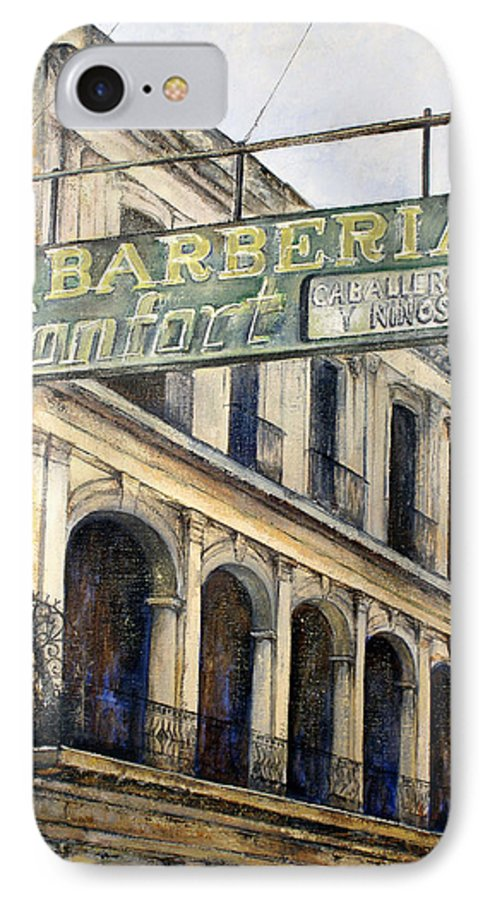Konfort Barberia Old Havana Cuba Oil Painting Art Urban Cityscape IPhone 7 Case featuring the painting Barberia Konfort by Tomas Castano