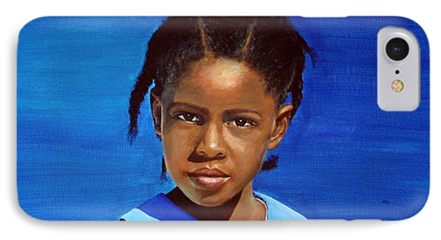 Portrait IPhone 7 Case featuring the painting Barbuda School Girl by Fiona Jack