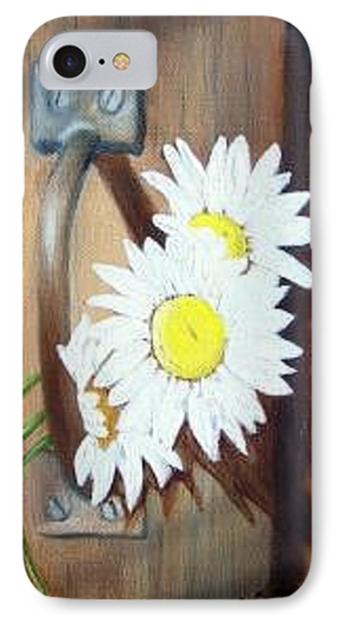 Rustic Barn Door With Metal Latch And Three White Daisies IPhone 7 Case featuring the painting Barn Door Daisies Sold by Susan Dehlinger