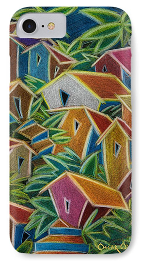 Landscape IPhone 7 Case featuring the painting Barrio Lindo by Oscar Ortiz