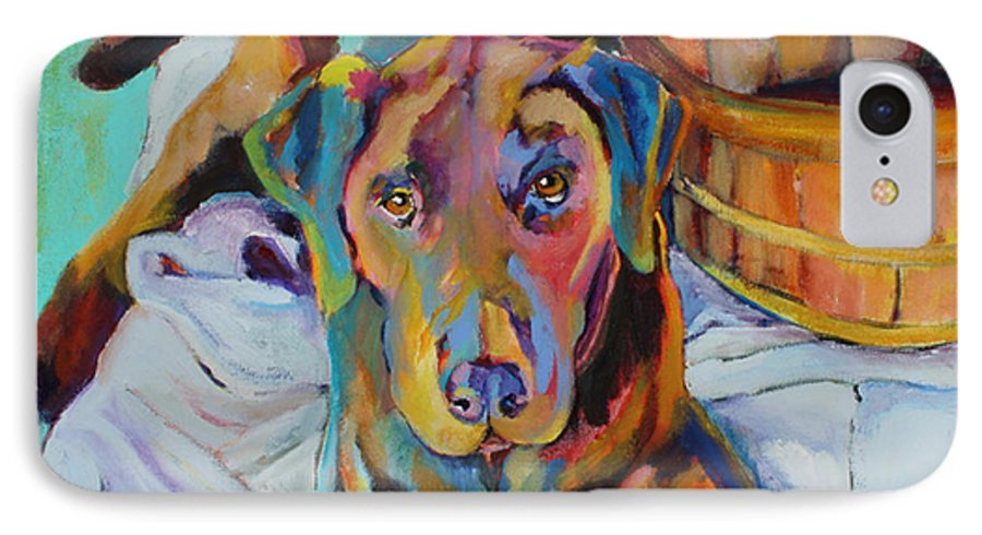 Chocolate Lab IPhone 7 Case featuring the painting Basket Retriever by Pat Saunders-White