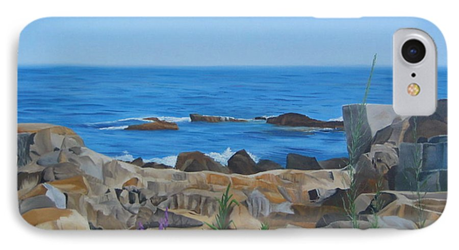 Seascape IPhone 7 Case featuring the painting Bass Rocks Gloucester by Lea Novak