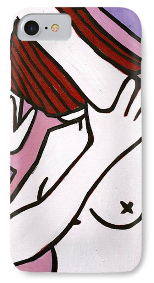 Nude IPhone 7 Case featuring the painting Bather by Thomas Valentine