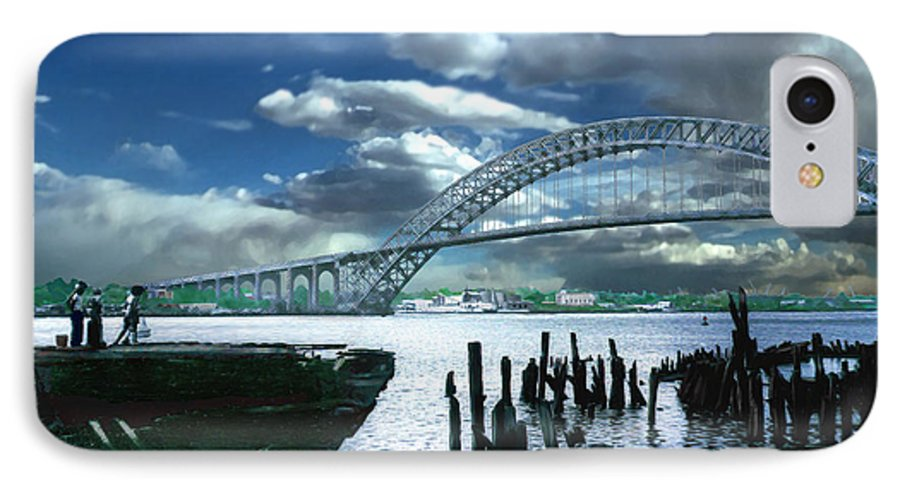 Seascape IPhone 7 Case featuring the photograph Bayonne Bridge by Steve Karol