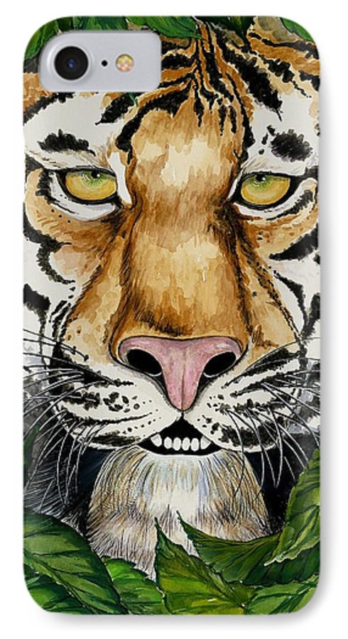 Art IPhone 7 Case featuring the painting Be Like A Tiger by Carol Sabo