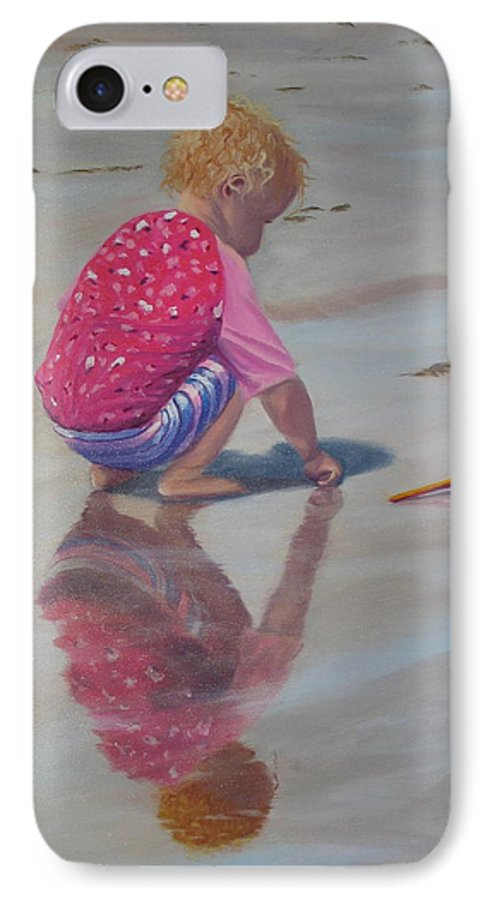 Baby IPhone 7 Case featuring the painting Beach Baby by Lea Novak