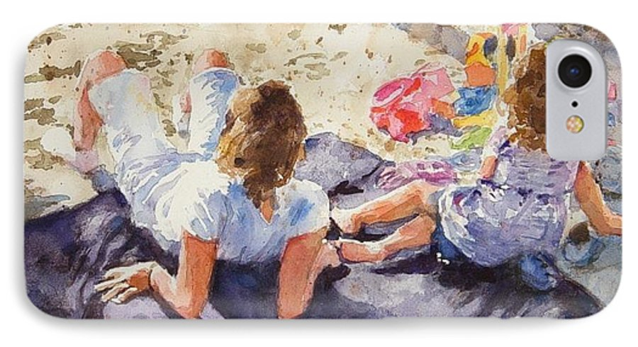 Beach IPhone 7 Case featuring the painting Beach Blanket by Debra Jones