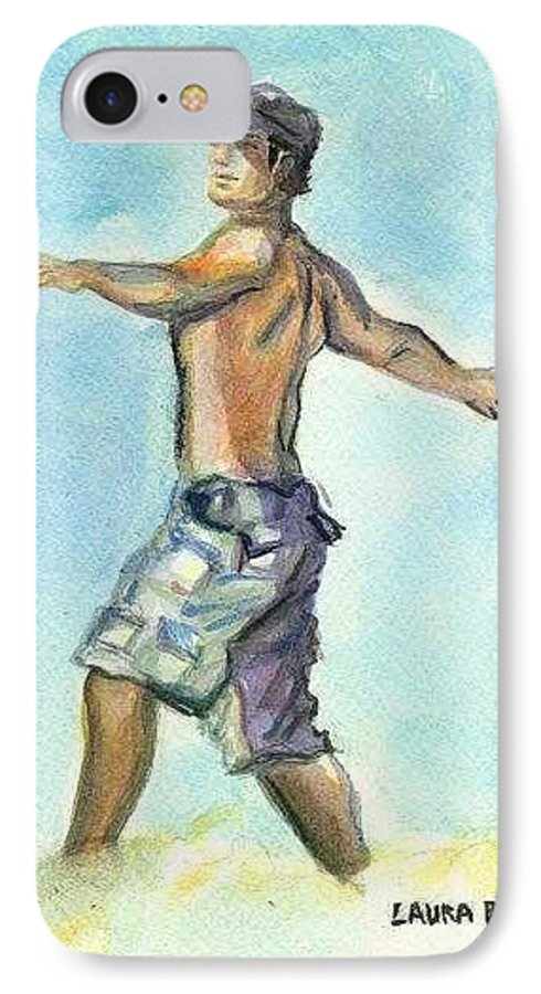 Man On Beach IPhone 7 Case featuring the painting Beach Boy by Laura Rispoli