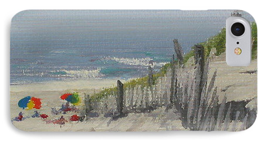 Beach IPhone 7 Case featuring the painting Beach Scene Miniature by Lea Novak