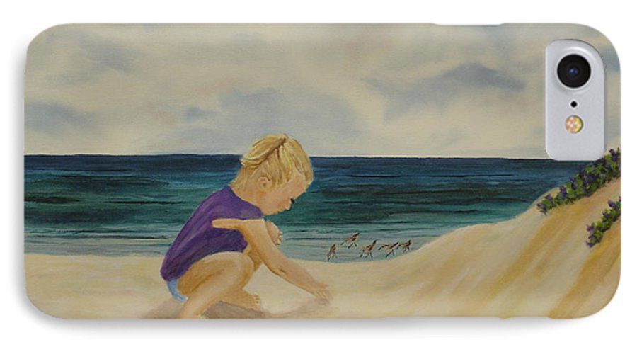 Child IPhone 7 Case featuring the painting Beachcomber by Susan Kubes