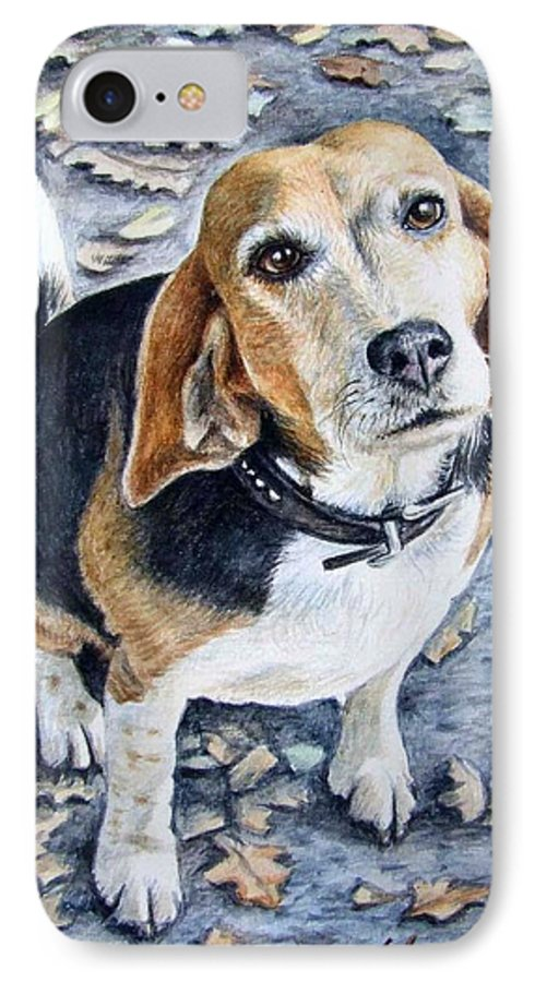 Dog IPhone 7 Case featuring the painting Beagle Nanni by Nicole Zeug