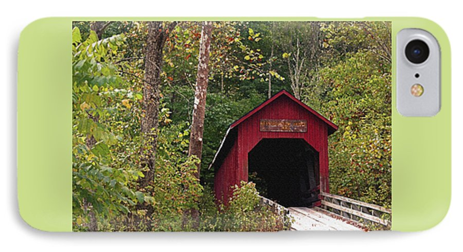 Covered Bridge IPhone 7 Case featuring the photograph Bean Blossom Bridge I by Margie Wildblood