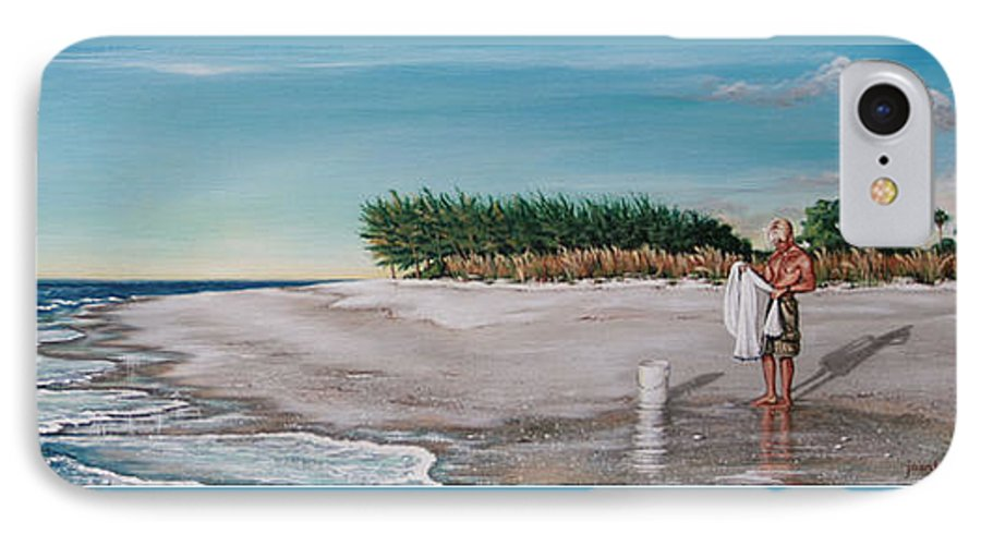 Beach IPhone 7 Case featuring the painting Bean Point by Joan Garcia