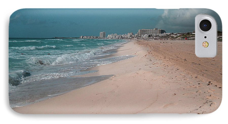 Beach IPhone 7 Case featuring the digital art Beautiful Beach In Cancun, Mexico by Nicolas Gabriel Gonzalez