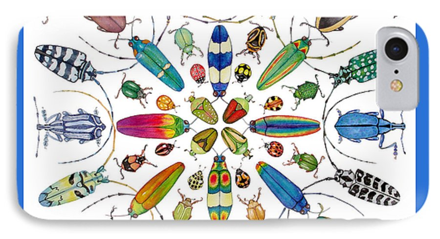 Insects IPhone 7 Case featuring the painting Beautiful Beetles by Lucy Arnold