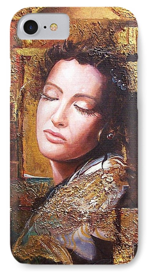 Female Portrait IPhone 7 Case featuring the painting Because You Are Beautiful by Sinisa Saratlic